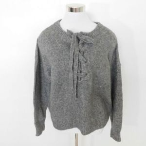 ZARA Wool BLend Knit Tie Front Gray Chunky Sweater